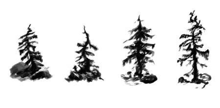 Set of grayscale curved mountain trees. Sketches for your design 스톡 콘텐츠