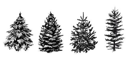 グレースケール冬の木のセットです。あなたの設計のためのスケッチ