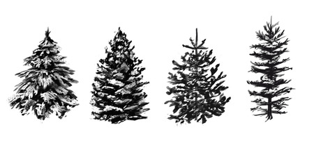 Set of grayscale winter trees. Sketches for your design