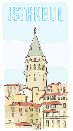 galata tower istanbul vector Illustration