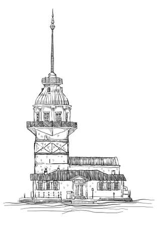 istanbul meaiden tower hand drawn vector