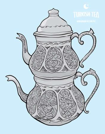 turkish tea hand drawn vector Illustration