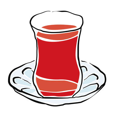 turkish tea vector drawing