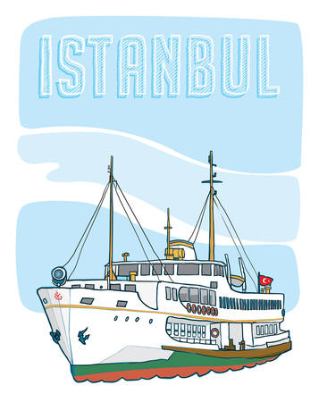 istanbul ferry Vector illustration drawing
