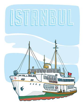 Istanbul veerboot Vector illustratie tekening