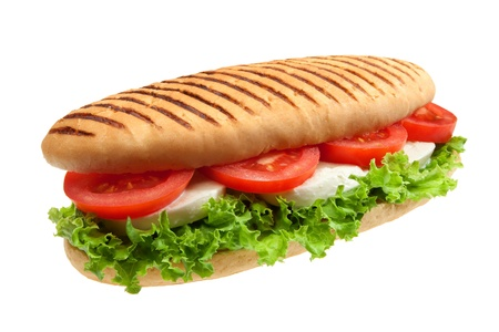 toasted: A sandwich with mozzarella, tomato and salad