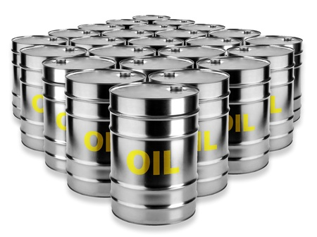 crude oil: many barrels of oil on a white background