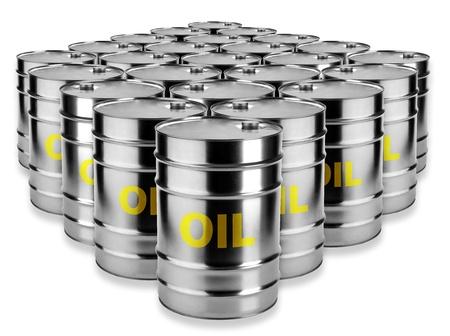 oil barrel: muchos barriles de petr�leo sobre un fondo blanco