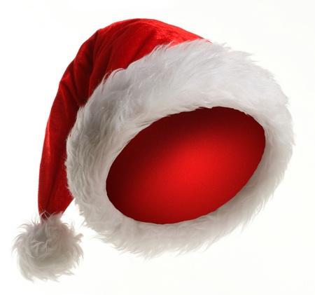 christmas profits: Santa Claus hat on white background Stock Photo