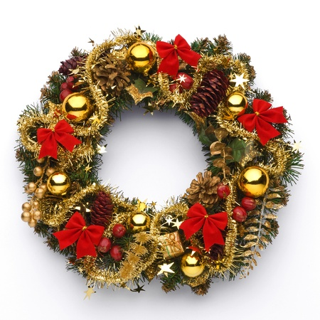 door leaf: Christmas wreath on white background Stock Photo
