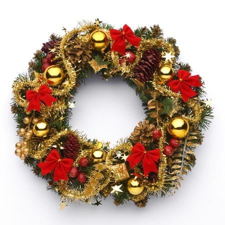 festal: Ghirlanda di Natale su sfondo bianco Archivio Fotografico