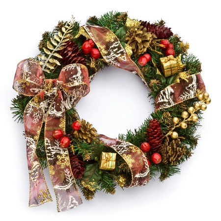 pine wreath: Christmas wreath on white background Stock Photo