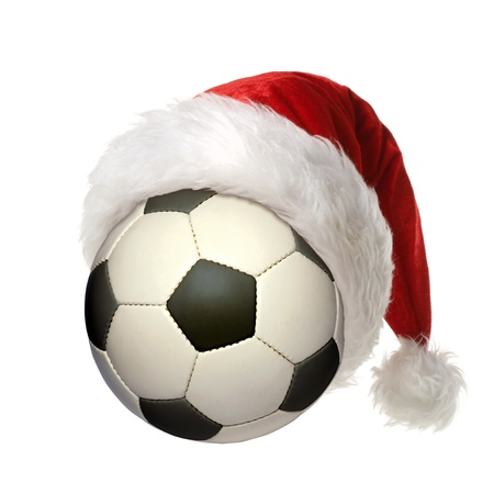 a soccer ball with a Christmas hat photo