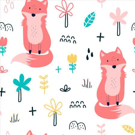 Cute fox illustration for print design vector.