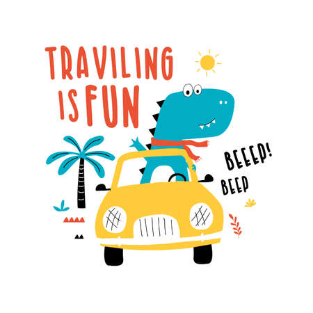 Driver dinosaur vector illustration for t-shirt design with slogan. Vector illustration design for fashion fabrics, textile graphics, prints.