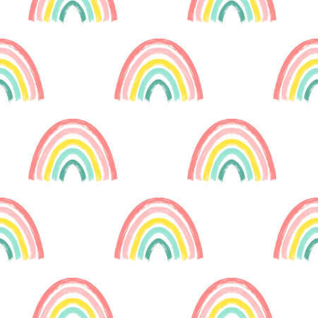 Hand drawing rainbow pattern illustration vector. Vector illustration design for fashion fabrics, textile graphics, prints. Illusztráció