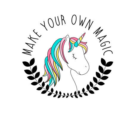 Hand drawing unicorn illustration vector with slogan. Vector illustration design for fashion fabrics, textile graphics, prints. Illusztráció