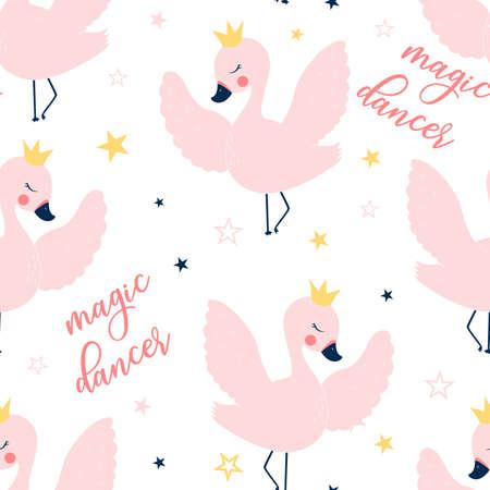 Ballet swan seamless pattern print design. Vector illustration design for fashion fabrics, textile graphics, prints.