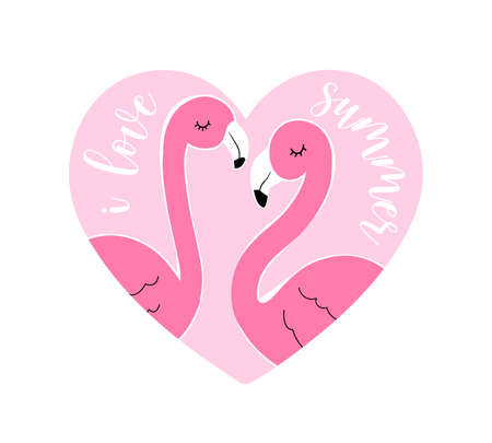 Hand drawing flamingo and heart vector illustration for the t-shirt design with the slogan. Vector illustration design for fashion fabrics, textile graphics, prints. Illusztráció