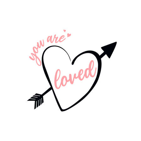 Love lettering vector isolated on white heart for logo, t-shirt design, and print for girls' clothes and apparel Illusztráció