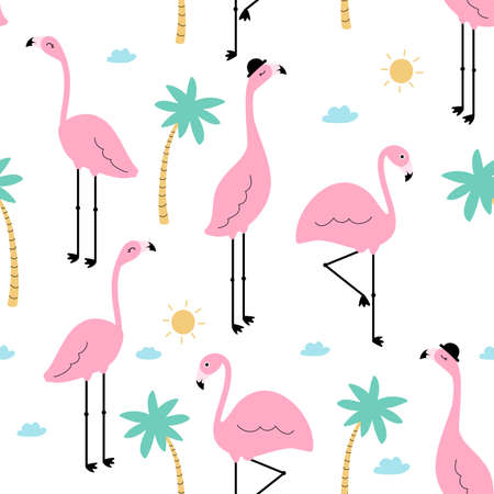 Seamless trendy tropical pattern with pink flamingo birds and tropic icons summer background. Vector illustration