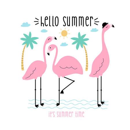 Flamingos vector illustration for t-shirt design Vector illustration design for fashion fabrics, textile graphics, prints.