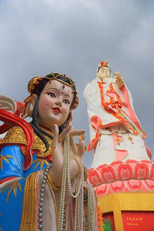 Big Guanyin statue in wat samarn temple Thailand photo