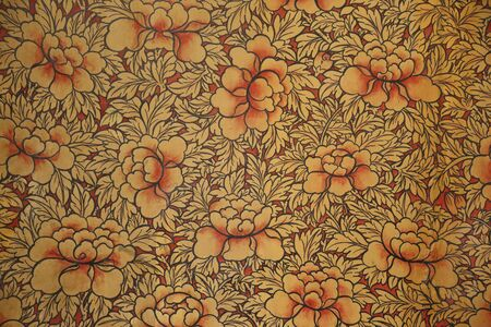 painting on wall paper in wat pho temple Thailand
