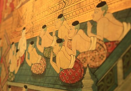 wall paper: painting on wall paper in wat pho temple Thailand