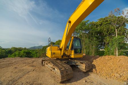machinery: Yellow backhoe machinery