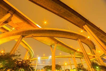 samutprakarn: Bhumiphol bridge across Chaopraya river and Klong ladpho flood way in Bangkok Thailand.