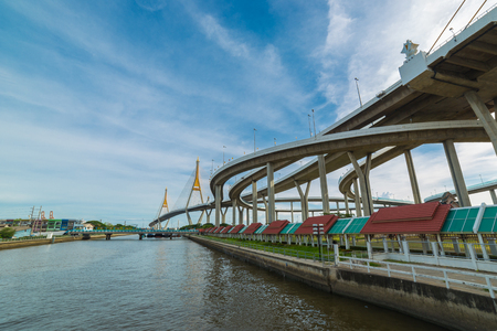 klong: Bhumiphol bridge across Chaopraya river and Klong ladpho flood way in Bangkok Thailand.
