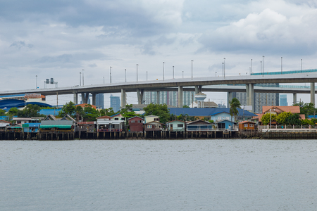 city park boat house: Village beside Chaopraya river in Bangkok Thailand