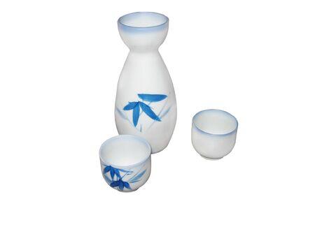 sake: bien establecido en un fondo blanco  Foto de archivo