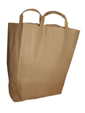 shoppings: a plain brown paper bag isolated on a white background