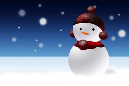 simple snowman with with a red cap in an winter night atmosphere photo