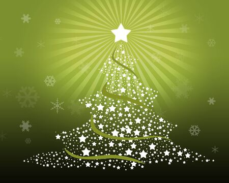 Merry Christmas Tree On Green Background With Snowflakes Stock Photo - 8300393