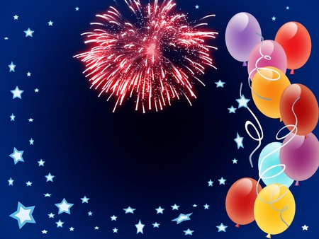 New Year background conceptual graphic with colorful balloons Stock Photo - 8457085