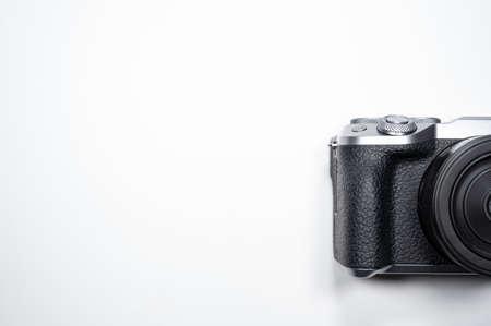 black digital camera with white background Archivio Fotografico