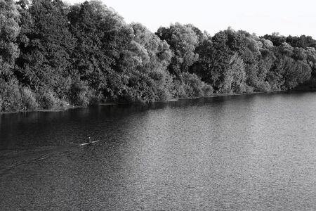 black white kayak: river Stock Photo