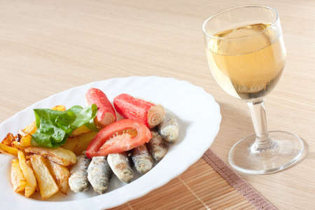 sardine salad and wine arrangement fresh healthy food photo