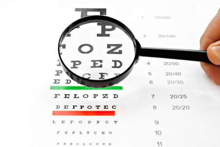 sight chart: loupe magnifier and vision chart at white background Stock Photo