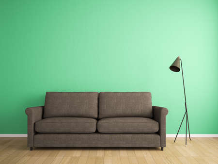 decoration fabric sofa and green wall photo