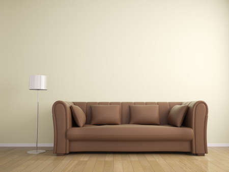 sofa and lamp furniture wall beige color, interior photo