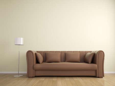 Sofa en lamp meubilair muur beige kleur, interieur Stockfoto - 32564534