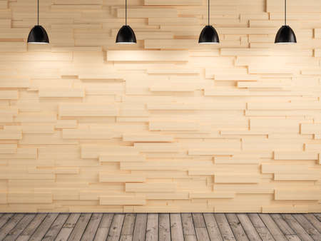 amp and wood wall and floor design background, 3d rendering photo