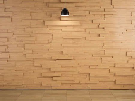 floor lamp: lamp and wood wall design and floor background, 3d redering