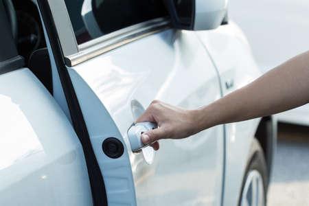 hand open door of auto car photo