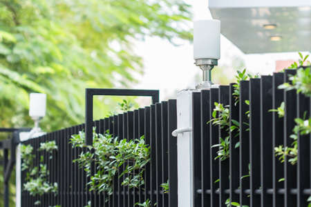 white fence: lamp on foliage fence of home