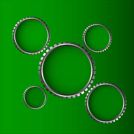 Green background and gear wheel Vector